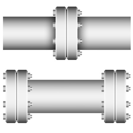 chrome cylinder: Element with straight pipe flanges on white bacground