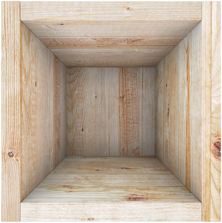 Wooden box. View from above. Render image. photo