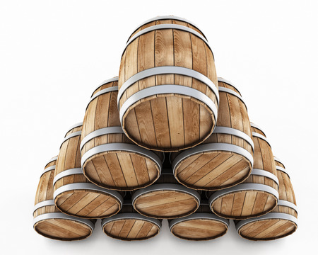 Stack of barrels isolated on a white background photo