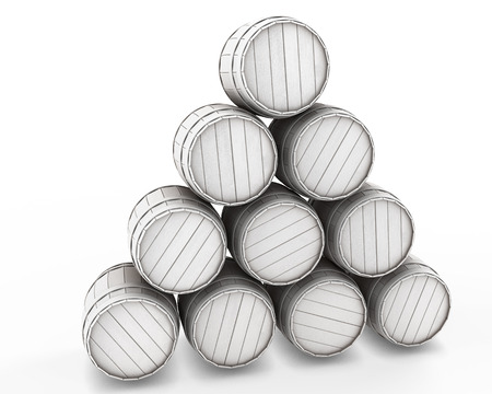 ferment: Stack of white barrels isolated on a white background