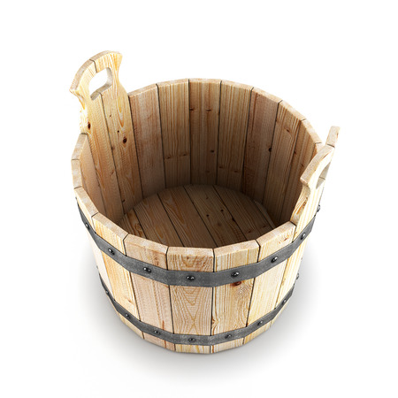 Open wooden bucket isolated on white background. 3d render image. photo