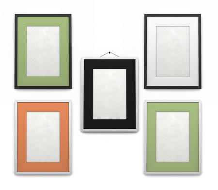 Set of frames for paintings of different colors isolated on a white background photo