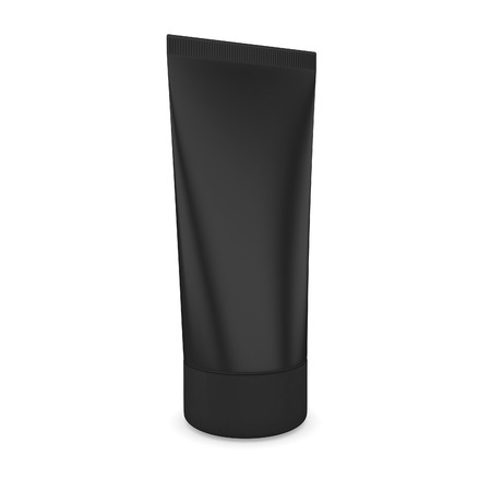 Tube of cream black isolated on a white background. 3d render image. photo