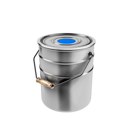 Container met blauwe verf op een witte achtergrond Stockfoto