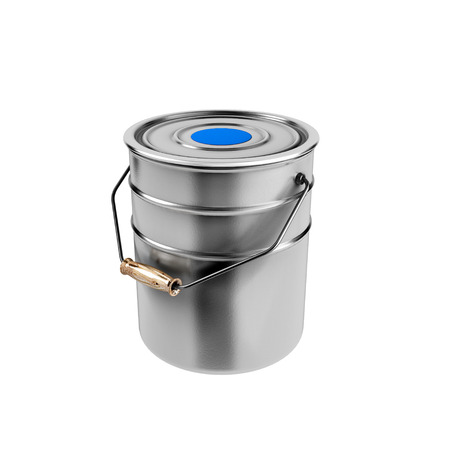 Container with blue paint isolated on white background