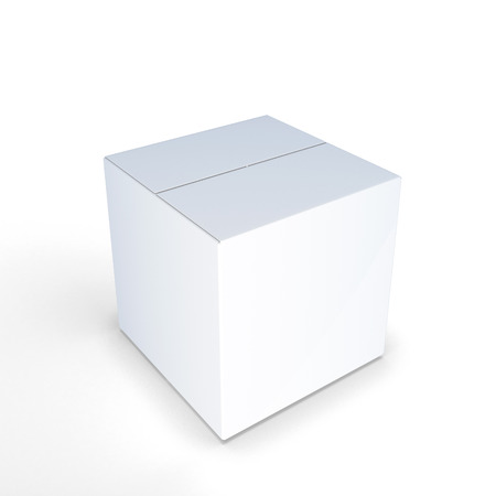 paperboard packaging: White cardboard box on a white background Stock Photo