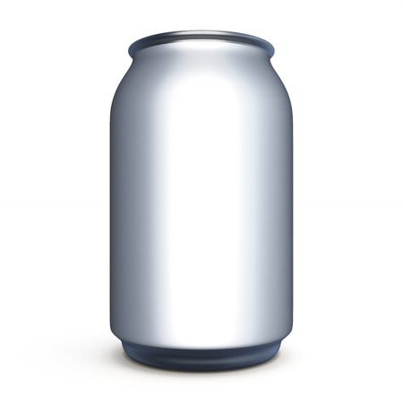 carbonated beverage: Can for beer, soda  isolated on white background. Template can for beer, soda without label for design. Front view. 3d render image.