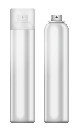 Blank aluminum spray can isolated on white background. Template bottle spray for design. Vector