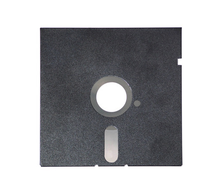Magnetic floppy disk for computer data storage isolated over white. Old diskette 5.25 inches on white background.