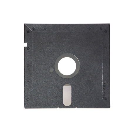 floppy: Magnetic floppy disk for computer data storage isolated over white. Old diskette 5.25 inches on white background. Old diskette 5.25 back view.