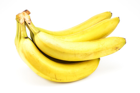 banana skin: Bunch of bananas isolate on white background Stock Photo