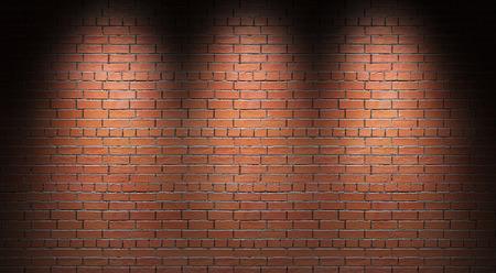 Illuminated brick wall. 3d illustration.