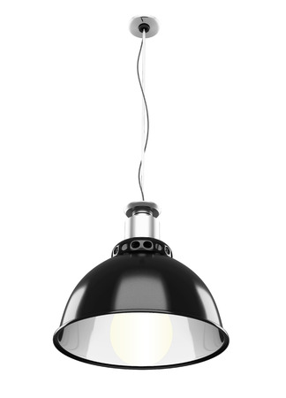 ceiling lamp: Metal ceiling lamp isolated on white background. 3d rendering.
