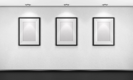 blank space: Three empty pictures in the gallery. 3d illustration.