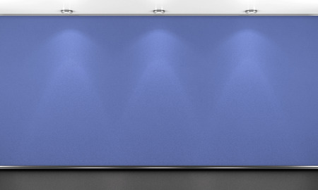 empty space: Blue wall illumination and black floor. 3d illustration.