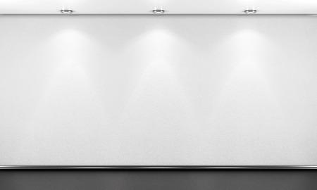 Lege witte kamer muur met verlichting. 3D-afbeelding.