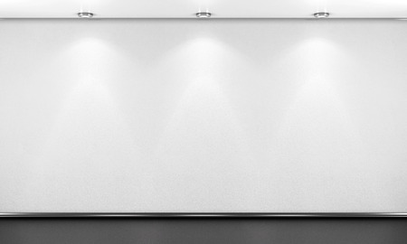 Empty white room wall with lighting. 3d illustration. Archivio Fotografico
