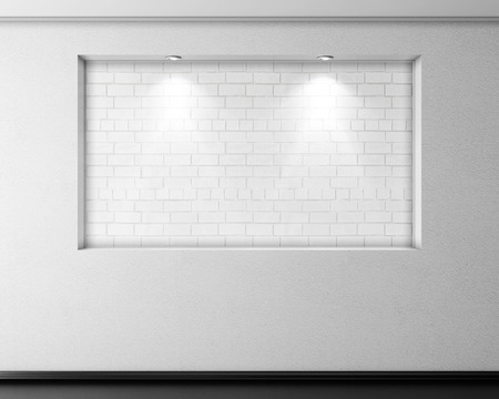 niche: Empty brick niche with lights on plastered wall. 3d rendering. Stock Photo