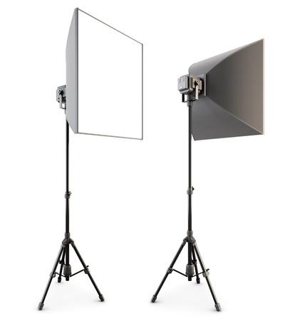 barndoor: Studio lighting isolated on the white background. Soft box. 3d rendering.