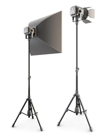 Verlichting van de studio die op de witte achtergrond. 3D-rendering.