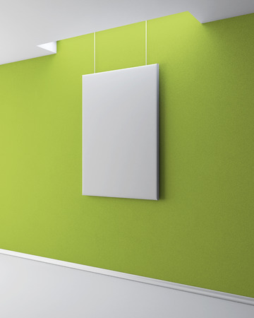 plinth: The blank picture on the green plastered wall. Gallery interior with empty frame on wall. 3d illustration.