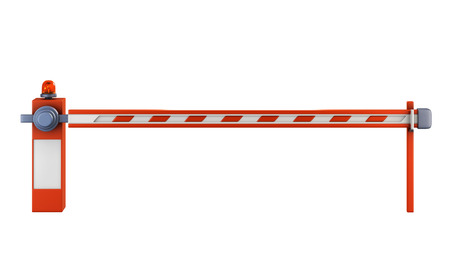 omitted: Road barrier isolate on white background. Closed gate on the road with a light signal. 3d illustration.