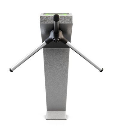 tourniquet: Metallic turnstile isolated on white background. Front view. 3d render.