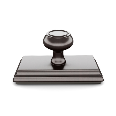 validity: Rubber stamp with wood handle and base Isolated on white background. 3d rendering.