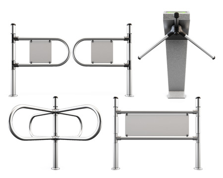 partitions: Set of metal turnstiles and partitions isolated on white background. 3d render illustration. Stock Photo