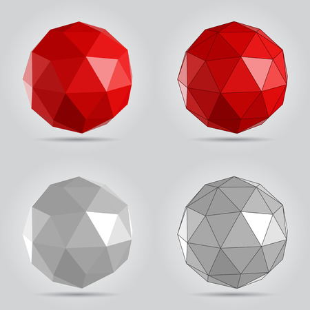 Red and grey low poly abstract sphere vector illustration. Vector Illustration