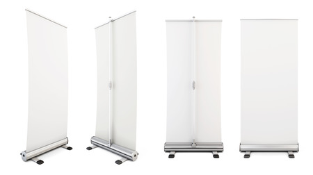 folding screens: Four roll-up from different angles. Rollup for your design. Templates ad designs. 3d illustration.
