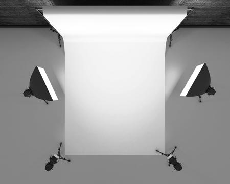 photo studio: Empty photo studio with lighting equipment.  Photo studio with white background. Studio lighting for photo shoots. 3d rendering. Stock Photo