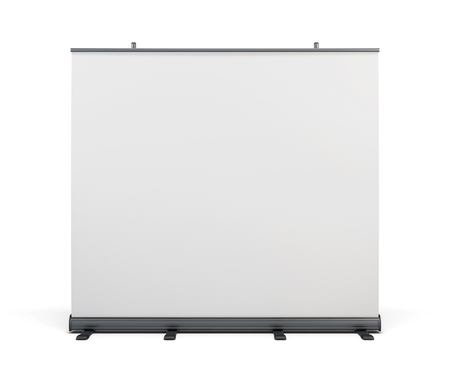folding screens: Wide portable advertising banner. Roll up isolated on white background. 3d rendering.