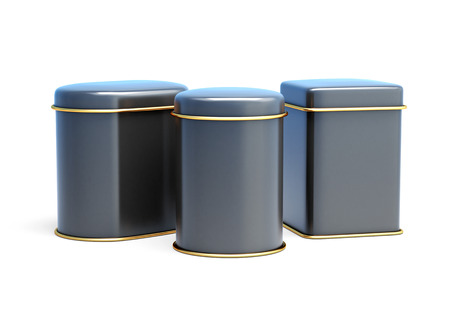 tare: Set of black tin cans isolated on white background. 3d rendering