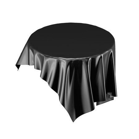 black satin: Black satin fabric floating in the air isolated on white background. 3d rendering. Digital illustration. Stock Photo