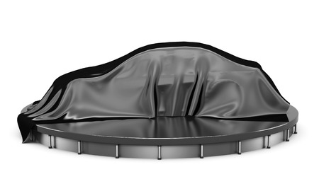 black satin: Car on the podium covered with a black satin cloth before presentation. Side view. 3d rendering. Stock Photo