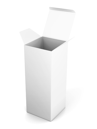 Blank open vertical cardboard box template standing on white background. Mock up for your design. 3d rendering.