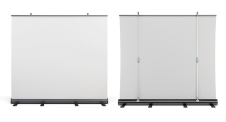 folding screens: Front view and rear view of the portable screens for presentations. 3d.