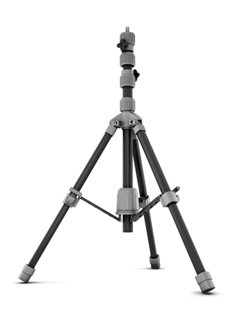 tiny lenses: Photo tripod isolated on white background. 3d rendering.