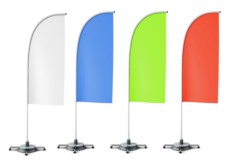 Layout of promotional stands flags of different colors. White, blue, green and red flags. 3d rendering.