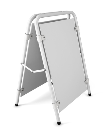 White advertising construction. Blank promotional stand on a white background. 3d rendering