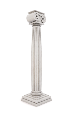 Single greek column isolated on white background. 3D illustration.