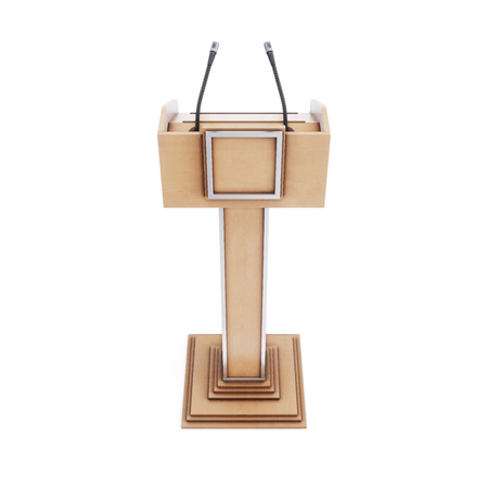 Tribune with microphones for speaking, reading lectures. Rostrum for the performance. Podium.3d rendering. 写真素材