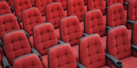 Empty red cinema chairs. Perspective view. 3d rendering image