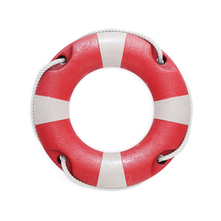 Old red lifebuoy isolated on a white background. 3d illustration,