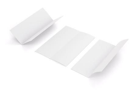 Blank white fold brochure isolated on white background, 3d illustration Stock Photo