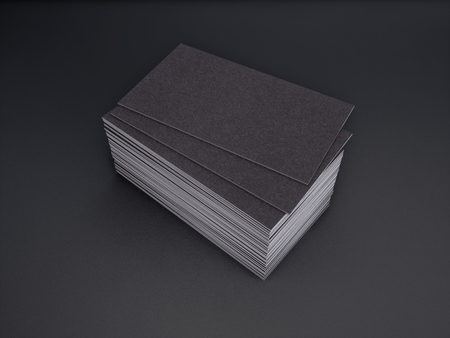 3D rendering of business card on a black background Imagens