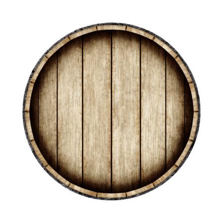 Barile di legno isolato su sfondo bianco, vista dall'alto. Rendering 3D. Vino vecchio, whisky, barile di birra.