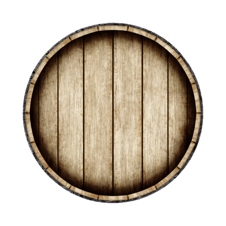 Wooden barrel isolated on white background, top view. 3d rendering. Old wine, whiskey, beer barrel. Foto de archivo
