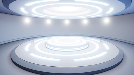 Abstract empty studio with pedestal and blue lighting. Futuristic round pedestal or platform for display. Sci-fi concept. 3d render. 3d visualisation Zdjęcie Seryjne